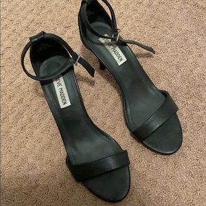 Steve Madden black ankle strap heels